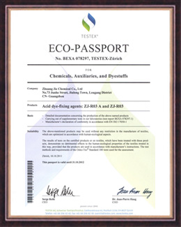 庄杰荣获ZJ-R03A瑞士ECO-PASSPORT荣誉证书